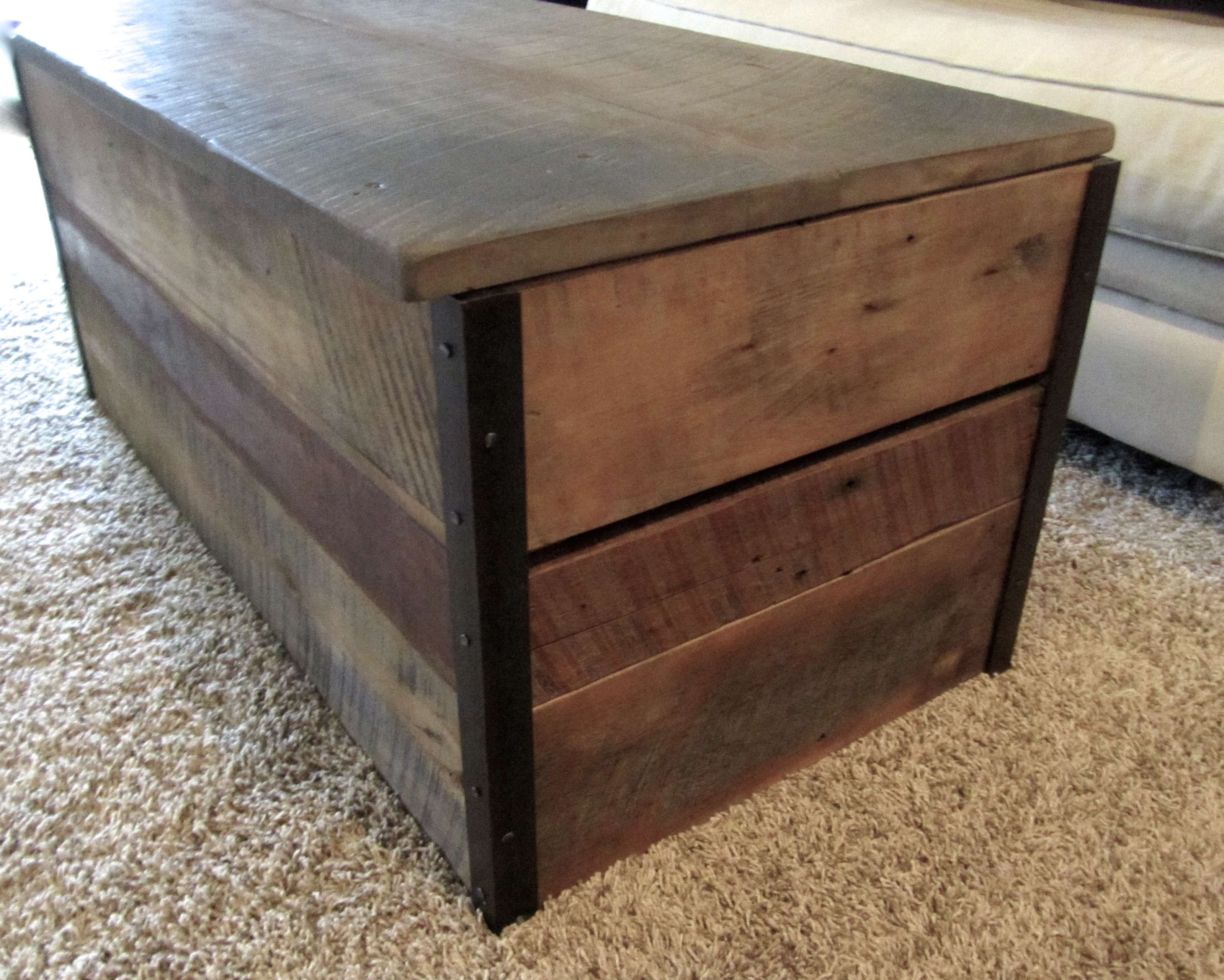 reclaimed wood coffee table storage chest